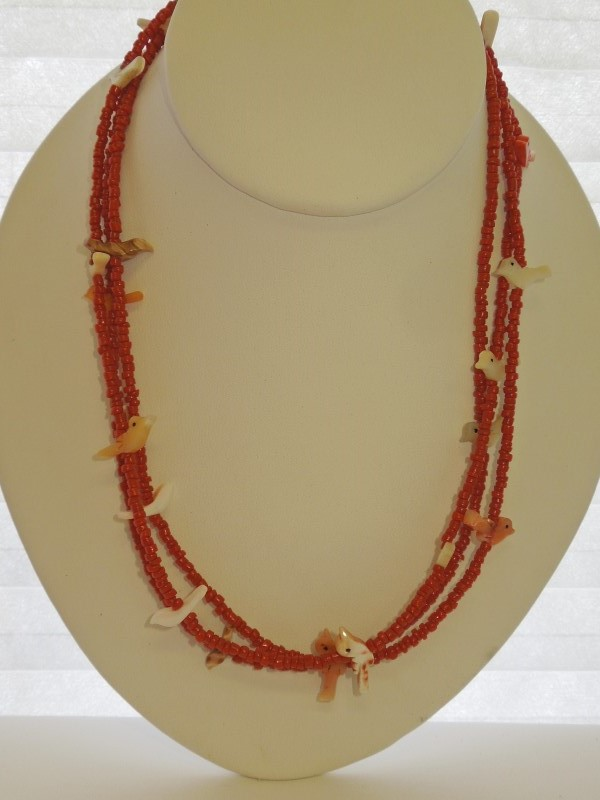 """28"""" Coral Stone Necklace 925 Silver 36.8g"""
