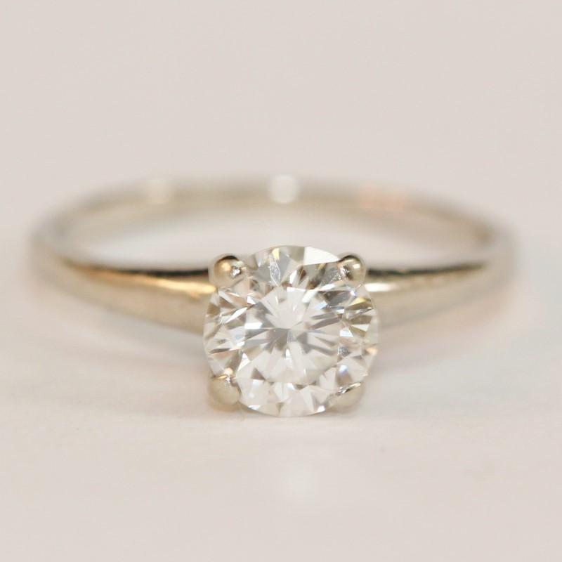 14K White Gold Round Brilliant Cut Diamond Solitaire Ring Size 5