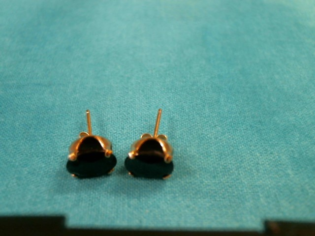 Black Stone Gold-Stone Earrings 14K Yellow Gold 0.9dwt