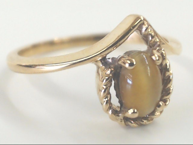 VINTAGE BROWN CAT EYE RING SOLID REAL 10K GOLD OVAL CUT PEAR SZ 6.25