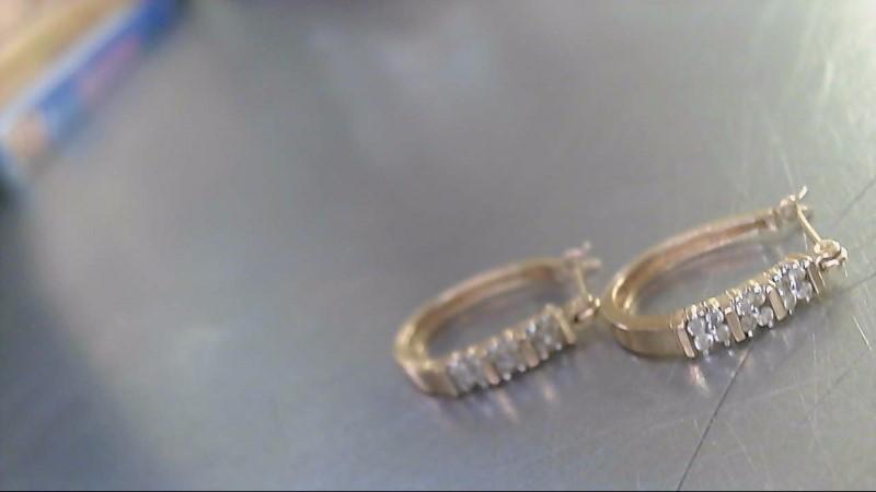 Gold-Diamond Earrings 30 Diamonds .30 Carat T.W. 14K Yellow Gold 3.03g