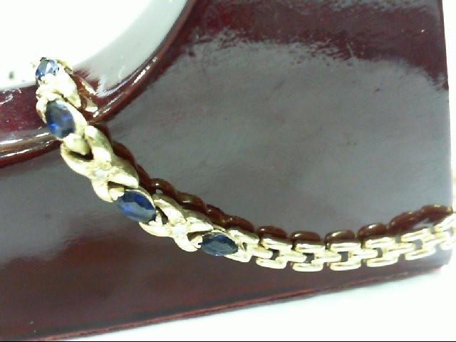 Sapphire Gold-Diamond & Stone Bracelet 4 Diamonds .020 Carat T.W.