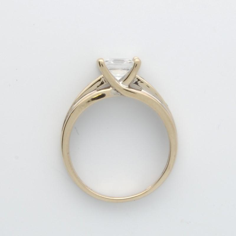ESTATE SOLID 14K WHITE GOLD RING PRINCESS CUT STONE ENGAGEMENT SZ 8