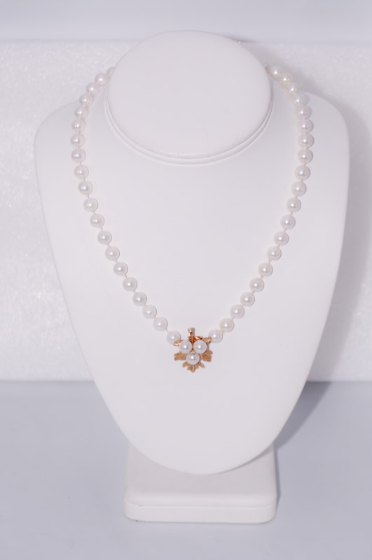 """24"""" Pearl Stone Necklace 14K Yellow Gold 43.9g"""