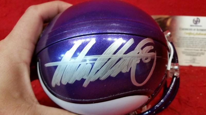 ADRIAN PETERSON Signed Minnesota VIKINGS Mini-helmet w/ GA COA