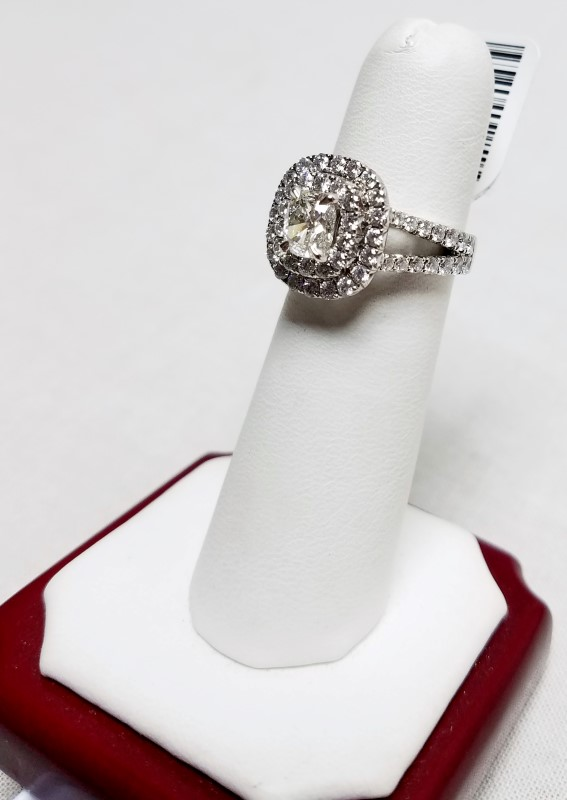 Henri Daussi 1.05ct Cushion Cut Double Halo Engagement Ring