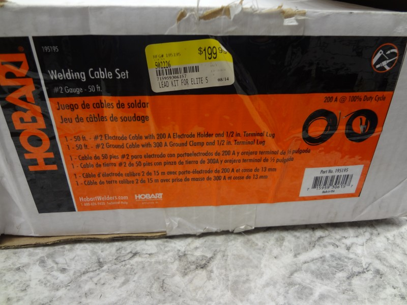 HOBART 195195 WELDING CABLE SET (1 50FT. #2 ELECTRODE CABLE & 1 50FT. #2 GROUND)