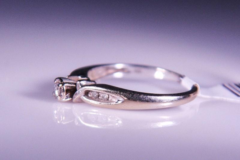 Lady's Diamond Wedding Set 5 Diamonds .12 Carat T.W. 14K White Gold 3.5g