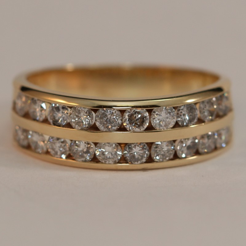 14K Y/G Channel Set Round Brilliant Diamond Wedding Band Size 6.5