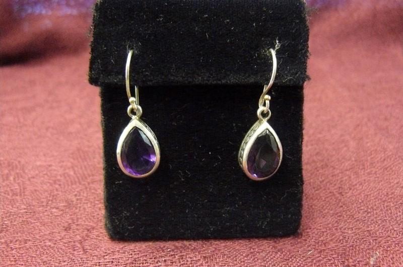 Synthetic Amethyst Silver-Stone Earrings 925 Silver 3.3dwt