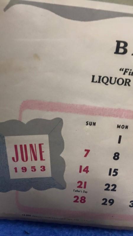 JUNE 1953 CALENDAR GIRL BILL'S BAR
