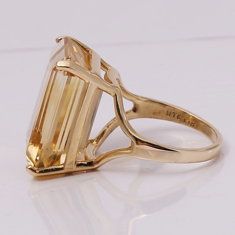 14K Yellow Gold Radiant Cut Yellow Stone Statement Ring Size 7.8
