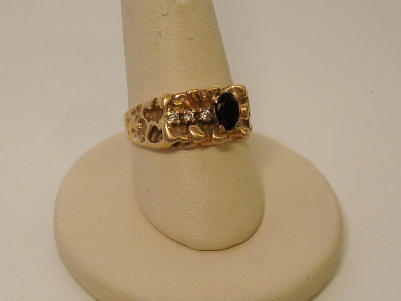 Blue Stone Gent's Stone & Diamond Ring 3 Diamonds .09 Carat T.W.
