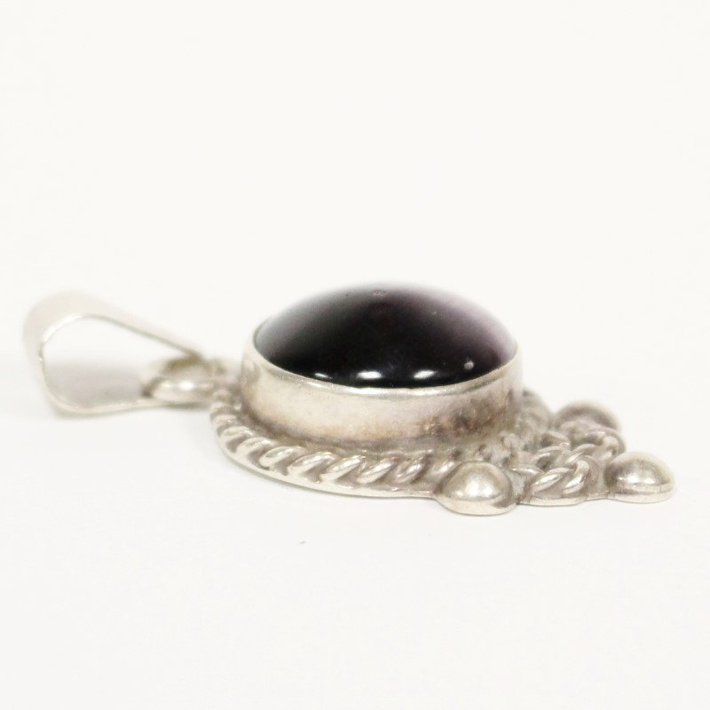 "Vintage Inspired Purple Stone Centered Silver Pendant 1.5"""