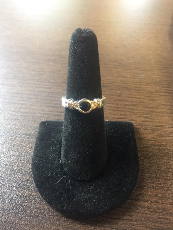 Sapphire Lady's Stone & Diamond Ring 2 Diamonds .12 Carat T.W. 14K White Gold