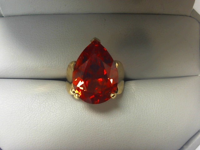Synthetic Citrine Lady's Stone Ring 10K Yellow Gold 7.7g
