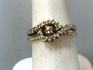 Lady's Diamond Wedding Set 18 Diamonds .23 Carat T.W. 14K Yellow Gold 3.2dwt