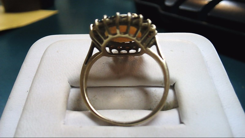 Red Stone Lady's Stone Ring 10K Yellow Gold 2.9g Size:7