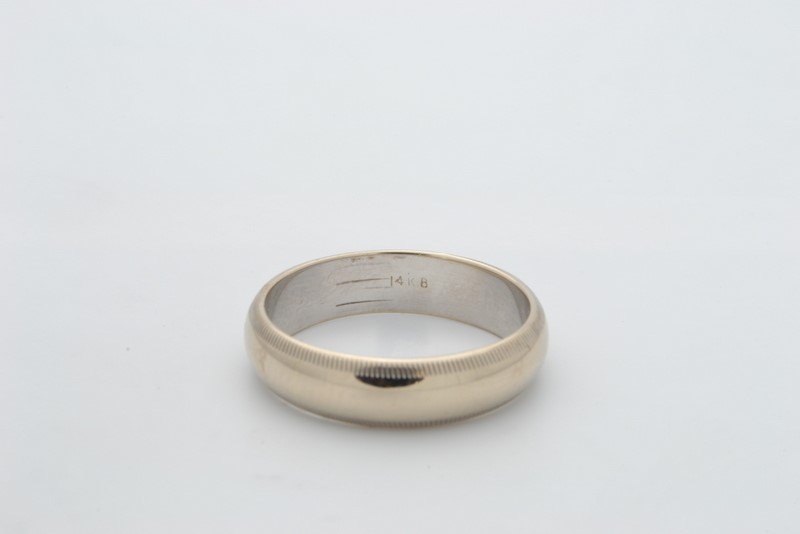 ESTATE SOLID 14K WHITE GOLD 5MM WEDDING RING BAND PLAIN UNISEX SIZE 7