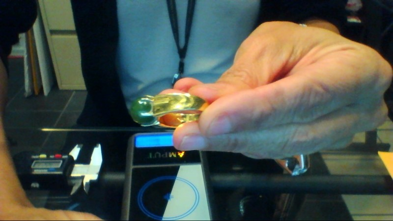 Jade Lady's Stone Ring 18K Yellow Gold 8g