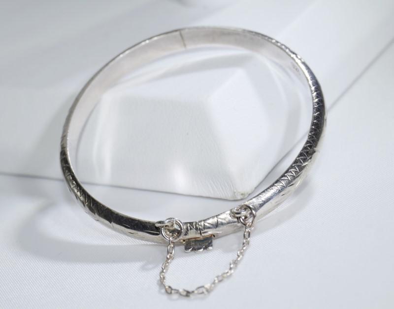 Sterling Silver Children's Baby Diamond Cut Etched Bangle Bracelet