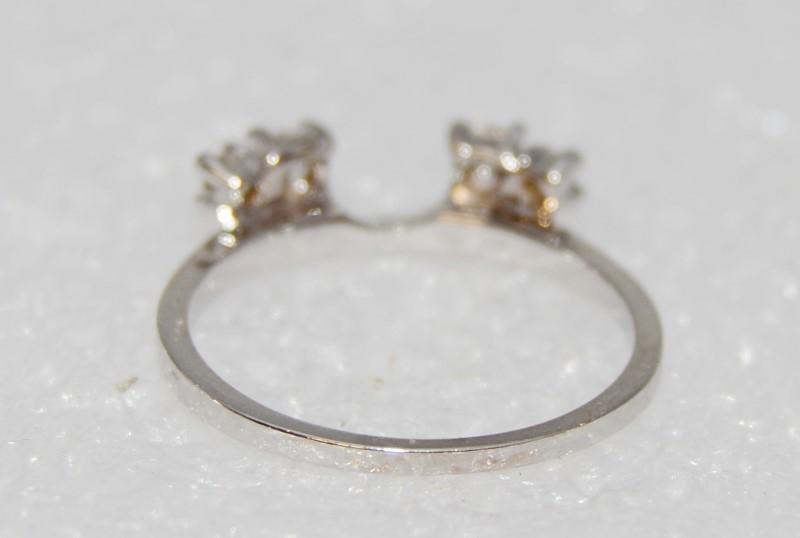 14K White Gold 4 Diamond Engagment Wedding Ring Single Band Enhanger Wrap 6