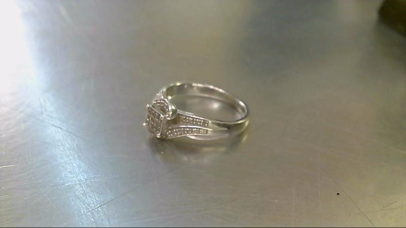 Lady's Silver-Diamond Ring 9 Diamonds .09 Carat T.W. 925 Silver 3.34g