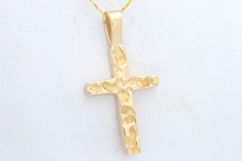 NUGGET CROSS PENDANT CHARM SOLID 14K GOLD JESUS CHRISTIAN RELIGIOUS