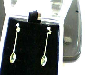 Synthetic Peridot Gold-Stone Earrings 14K Yellow Gold 0.7dwt