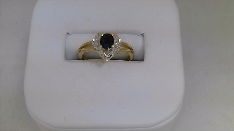 Lady's Synthetic Oval Blue Sapphire and Diamond 10K Yellow Gold