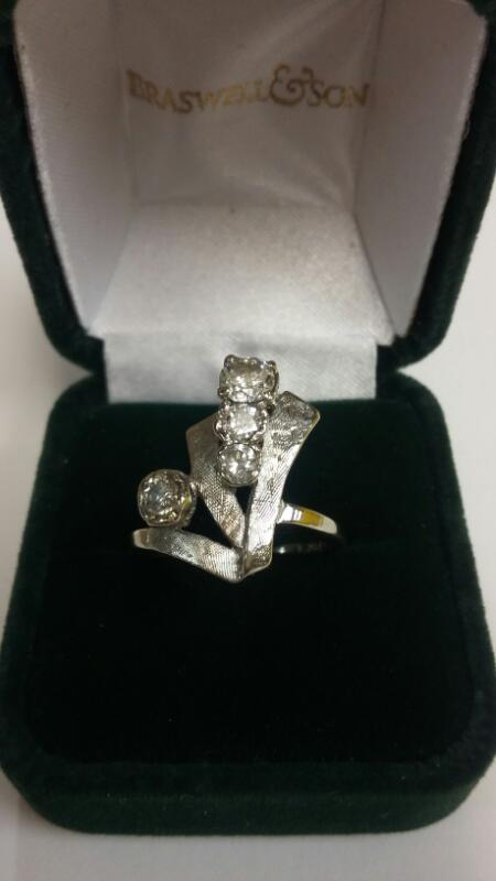 Lady's Diamond Fashion Ring 5 Diamonds .75 Carat T.W. 14K White Gold 2.5dwt