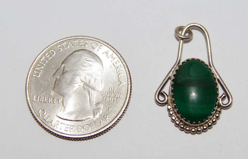 Sterling Silver Oval Malachite Vintage Inspired Pendant