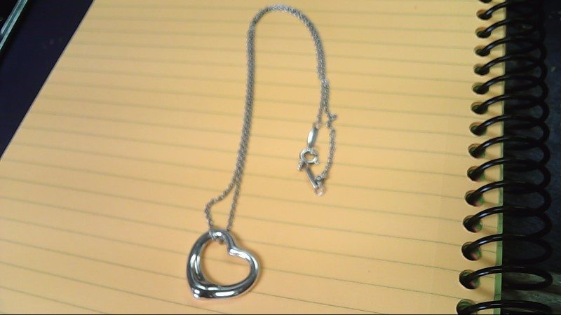 STERLING SILVER CHAIN WITH HEART PENDANT 925 Silver 7g Tiffany & Co.