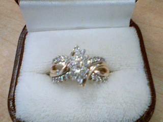 Lady's Diamond Cluster Ring 36 Diamonds .36 Carat T.W. 14K Yellow Gold 6g