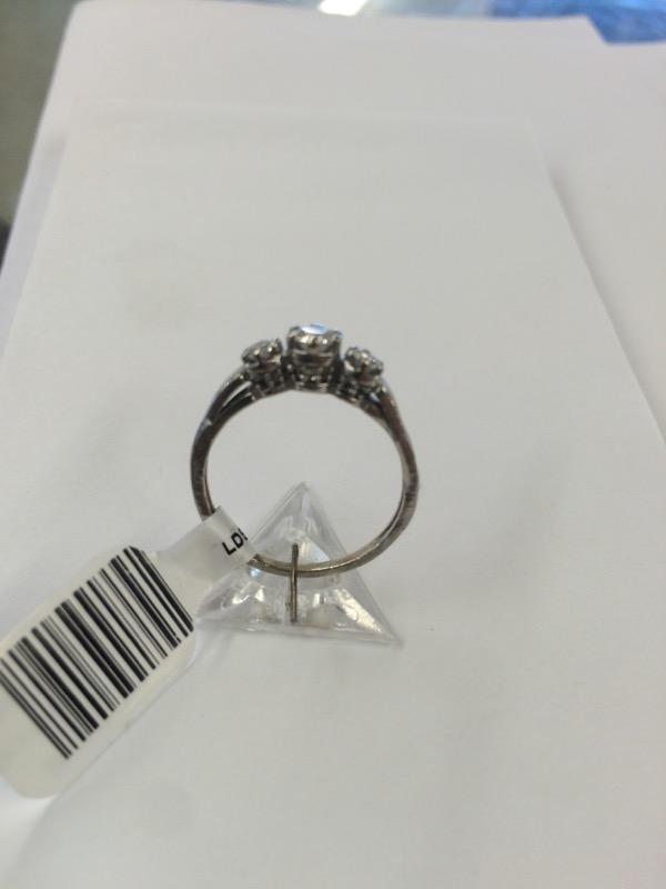 Lady's Diamond Engagement Ring 3 Diamonds .34 Carat T.W. 10K White Gold 1.42dwt