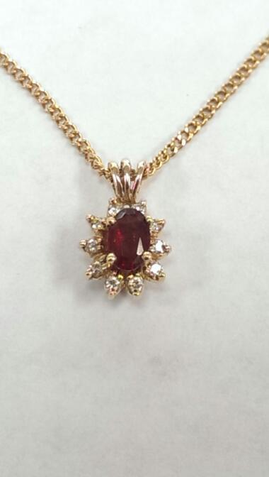 "18"" Synthetic Almandite Garnet Diamond & Stone Necklace"