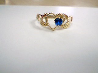Blue Stone Lady's Stone Ring 14K Yellow Gold 2.6g Size:8.8