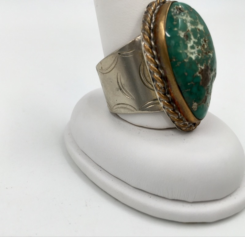 Genuine Green Turquoise & Sterling Silver Ring 18.7g - Size13.5