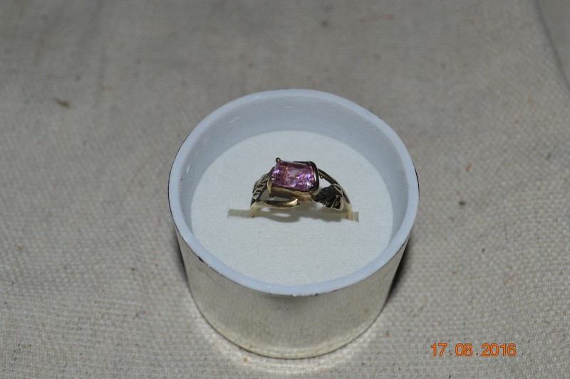 Pink Stone Lady's Stone Ring 10K Yellow Gold 2.4g