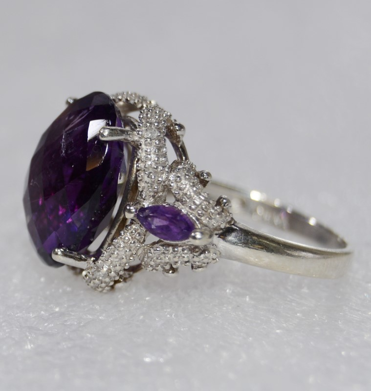 Oval & Marquis Multi-Faceted Sterling Silver Amethyst Ring Size 6