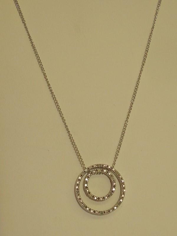 Silver-Diamond Pendant 13 Diamonds .065 Carat T.W. 925 Silver 5.6g