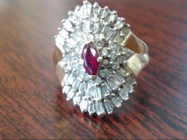 Red Stone Lady's Stone & Diamond Ring 22 Diamonds .32 Carat T.W.