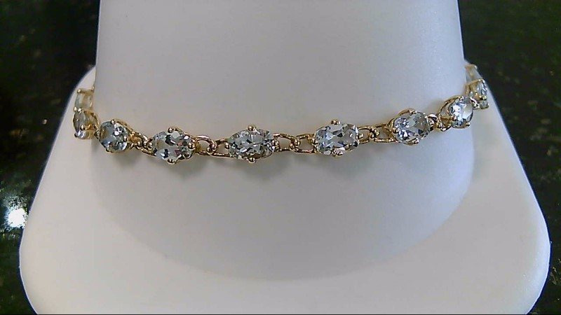 "7"" Synthetic Aquamarine Gold Bracelet 14K Yellow Gold 5.7g"