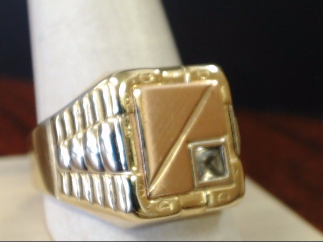 VINTAGE CZ SIGNET RING SOLID 10K GOLD ITALY TRI COLOR MENS SIZE 12.5