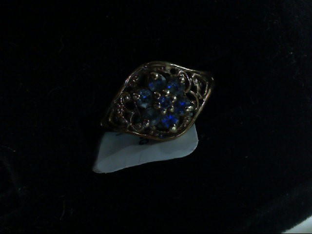 Blue Stone Lady's Stone Ring 10K Yellow Gold 1.6g