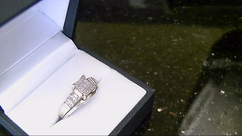 lady's sterling silver sz 7 diamond wed set