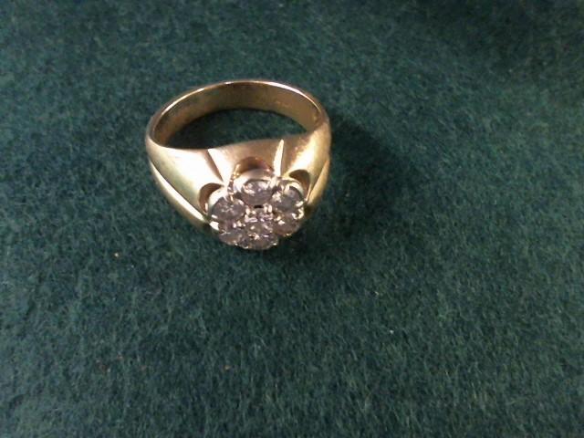 Gent's Diamond Cluster Ring 7 Diamonds .70 Carat T.W. 14K Yellow Gold 6.6g