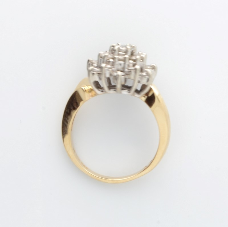 ESTATE DIAMOND CLUSTER RING SOLID 14K GOLD COCKTAIL DINNER SIZE 6.25