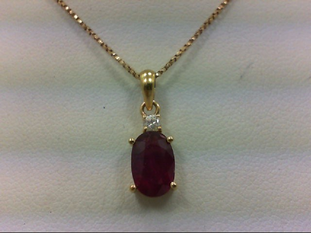 Ruby Gold-Diamond & Stone Pendant .05 CT. 14K Yellow Gold 3.3g