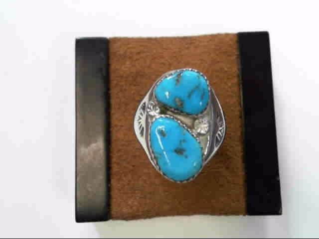 Turquoise Gent's Silver & Stone Ring 925 Silver 6.7dwt